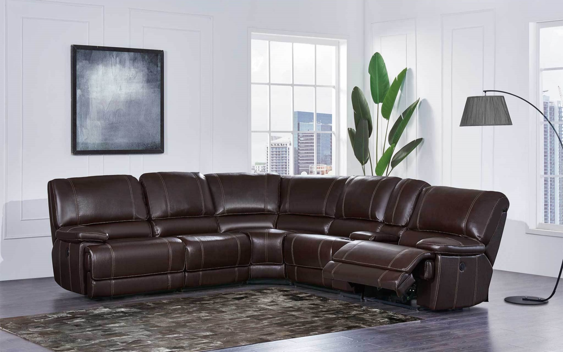 (U1953) Agnes Reclining Power Sectional Includes 3 Recliners