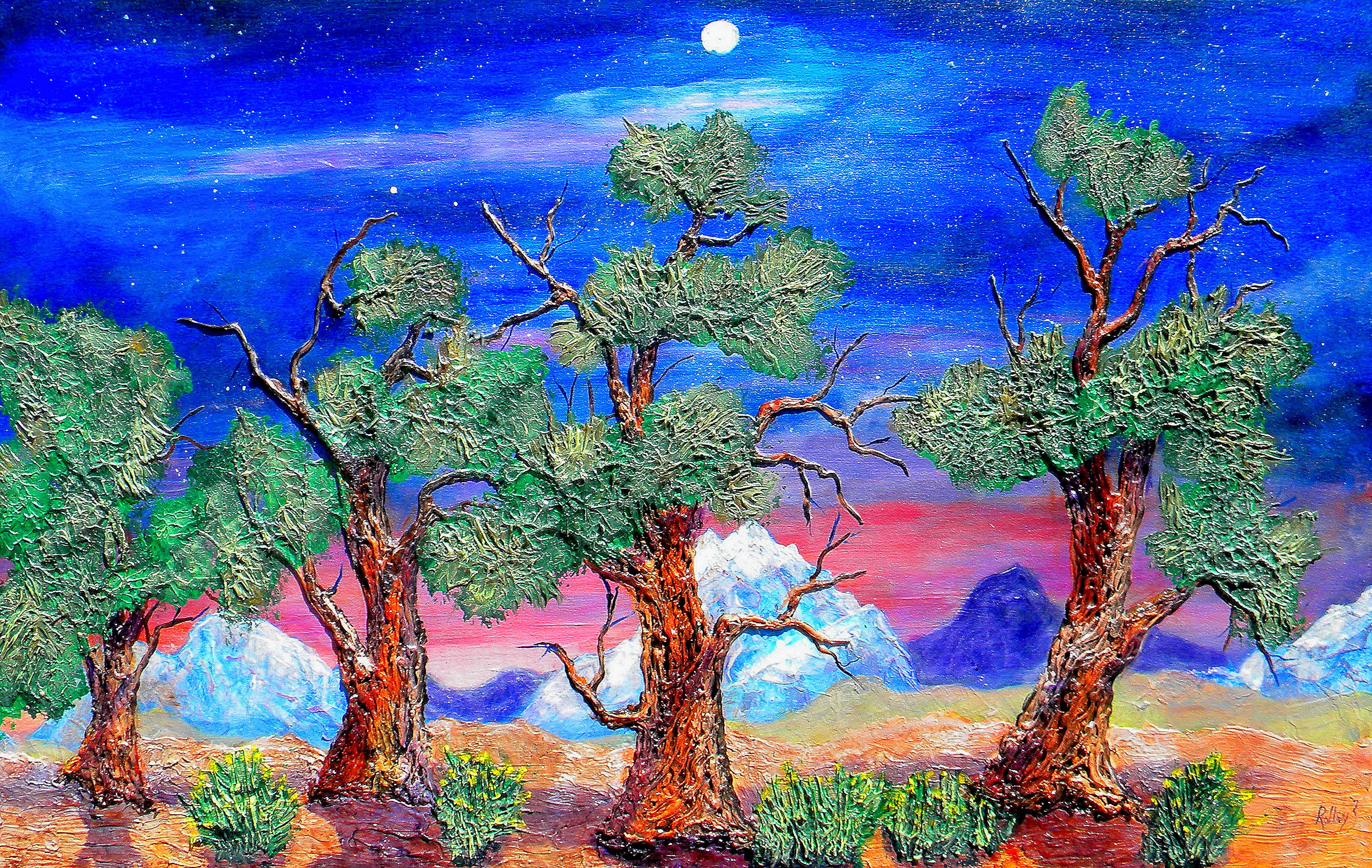 5000 YEAR OLD BRISTLECONE  PINES $1200 24x48in. HIGHLIGHTED WITH GLOW IN DARK LUMINESCENT PAINT