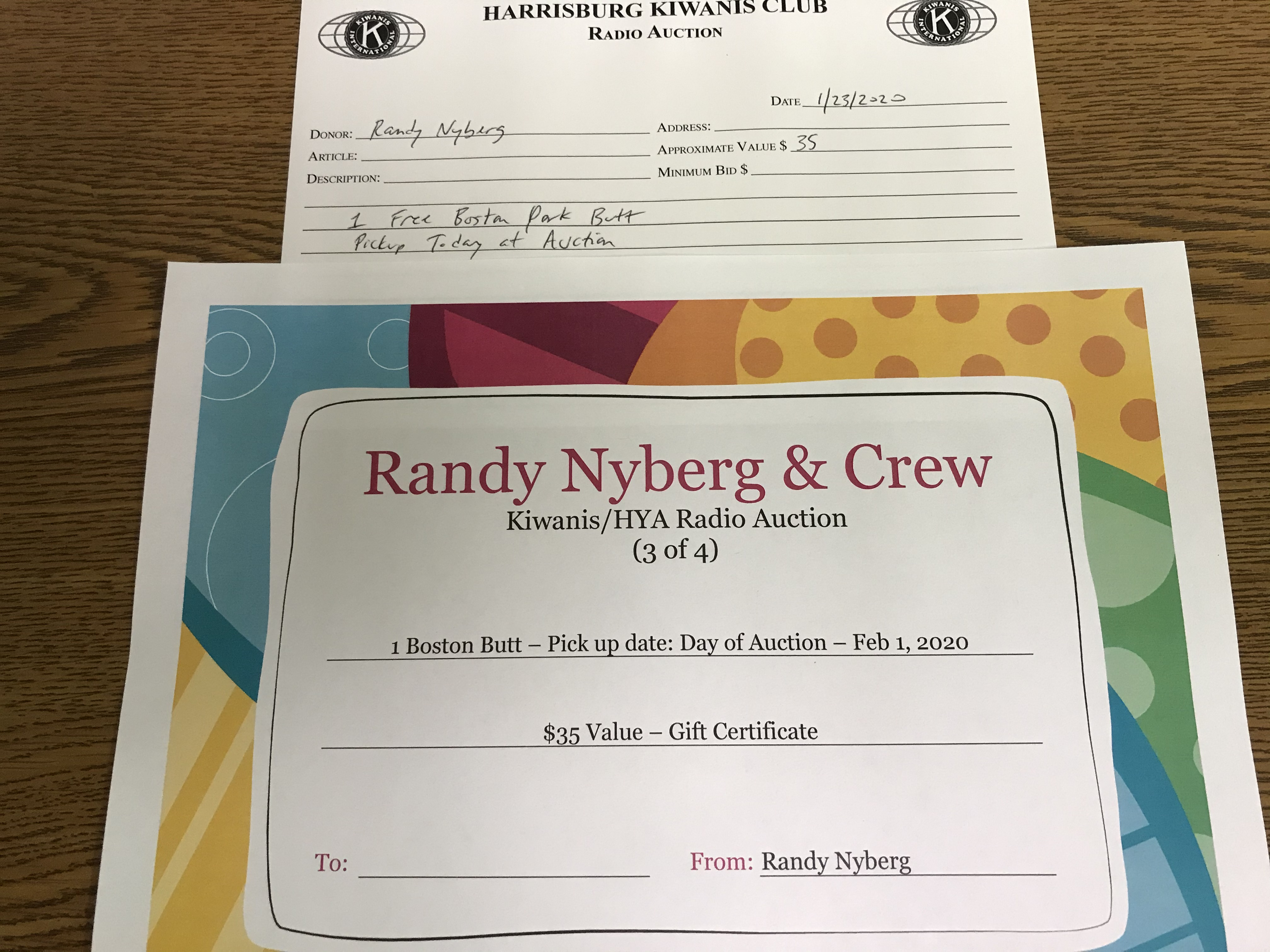 Item 310 - Randy Nyberg 1 Free Pork Butt (available for pickup the day of the Auction)
