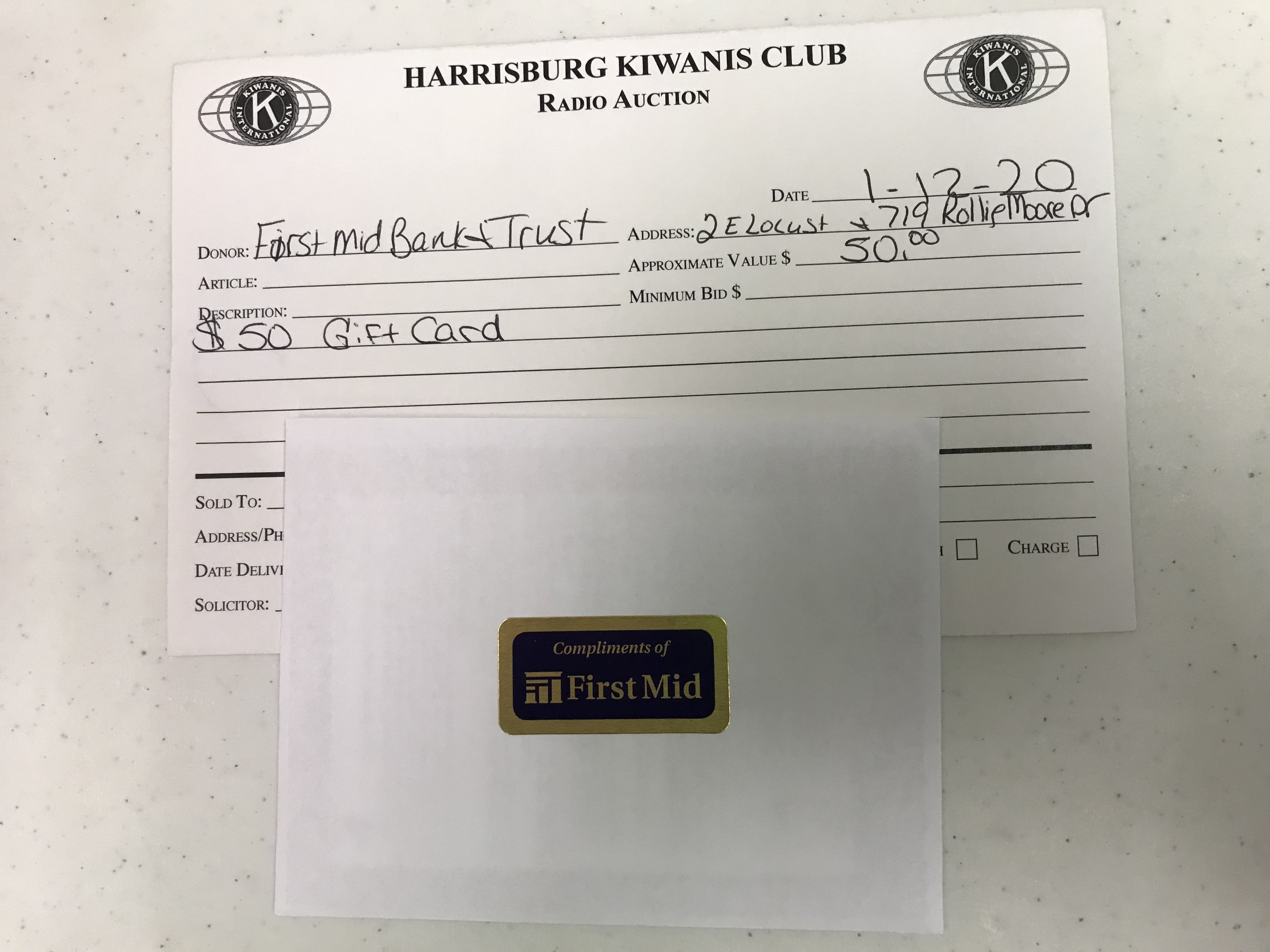 Item 211 - First Mid Bank & Trust $50 Visa Gift Card