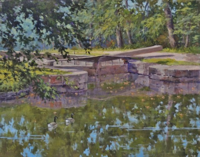 "Barbara Nuss, At the Locks, 11"" x 14"" Oil SOLD"