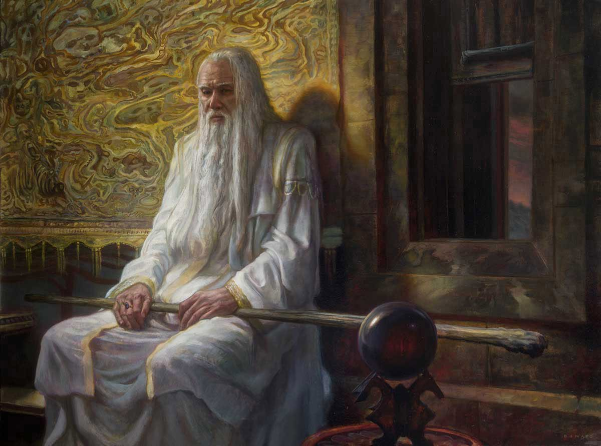 "Saruman - Corruption 28"" x 33""  Oil on Panel  2014 collection of Rotem Bar-Kokhva"