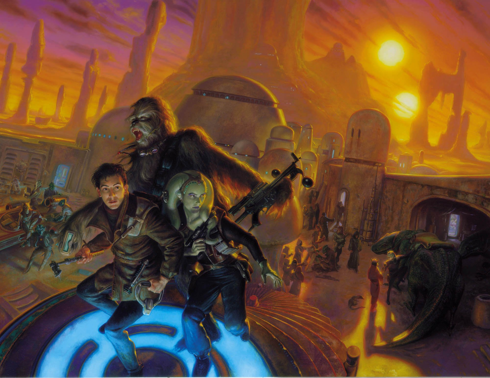 "Star Wars Galaxies 33"" x 45""  Oil on Panel 2002 Advertising illustration for the video game by Lucas Arts"