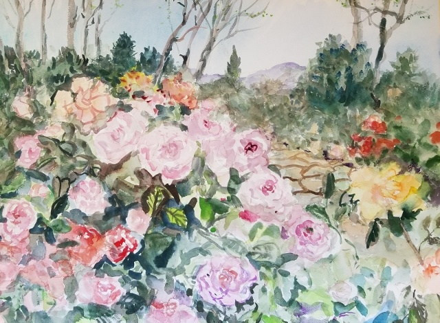 "Michele Martin Taylor, With Love & Roses, 22"" x 30"" WC"