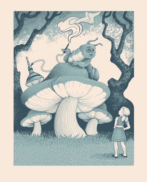 "Alice and the Caterpillar Silkscreen 12"" X 16"" $50."