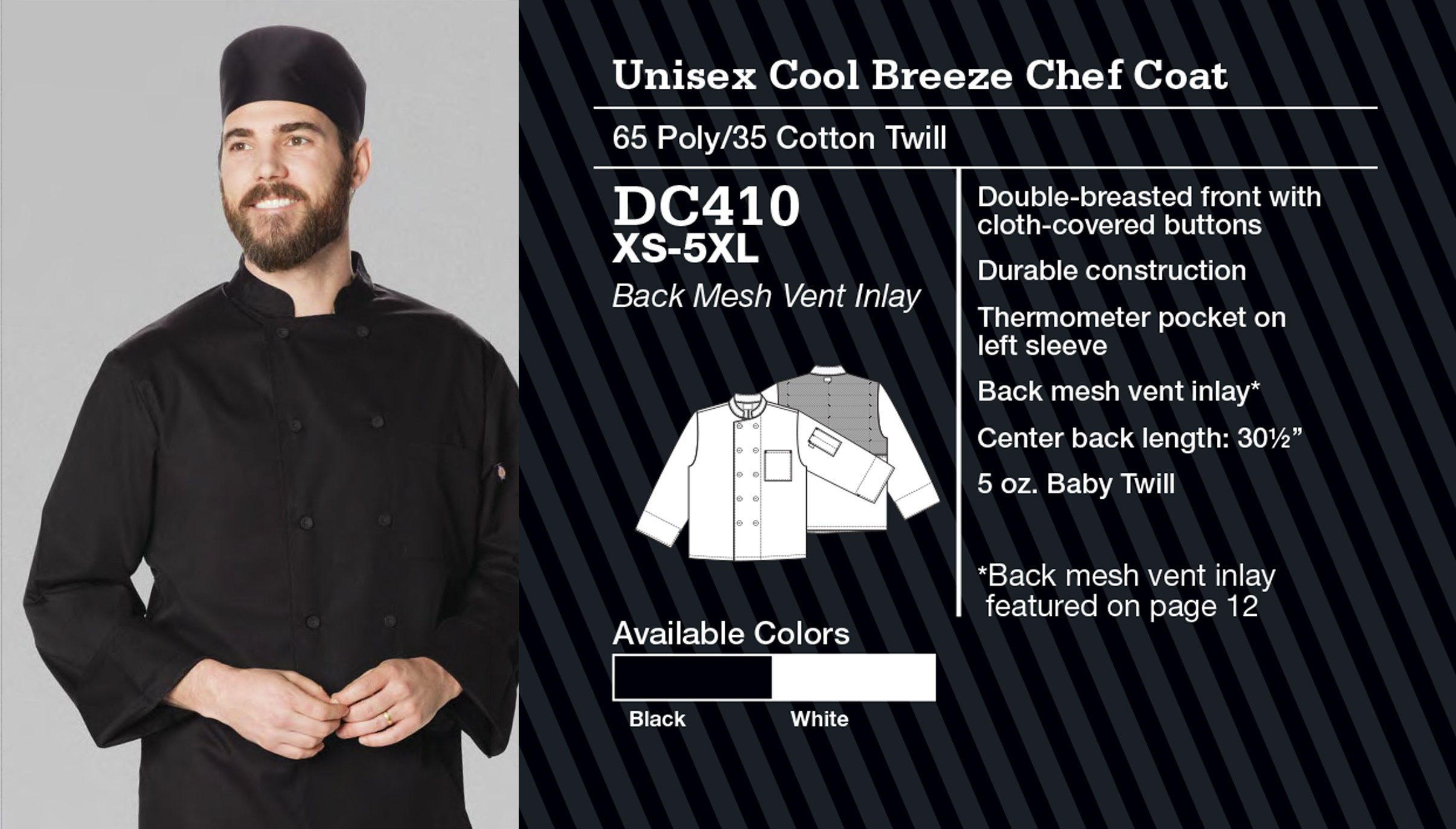 Abrigo de Chef Unisex Cool Breeze. DC410.