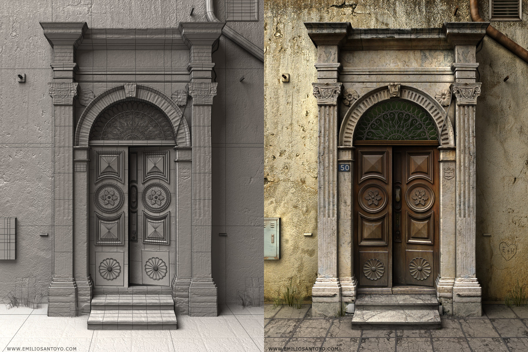 Doorway Scene. Software used 3ds Max, PhotoShop, and Zbrush.