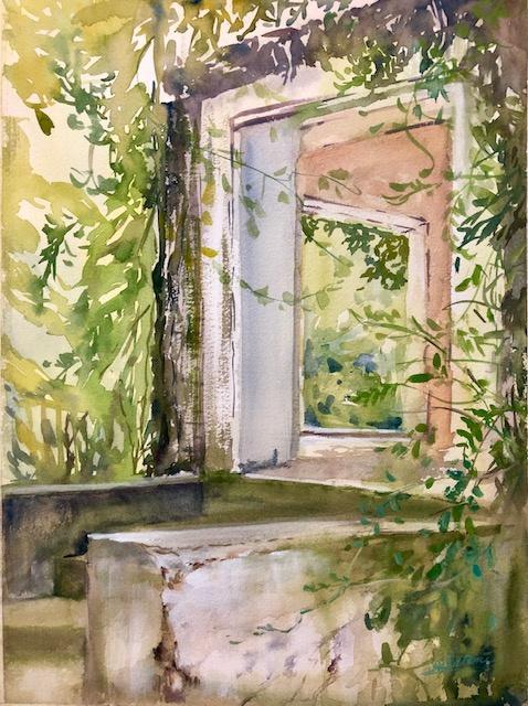 """Quiet Entry Watercolor 11"""" X 15"""" $250."""