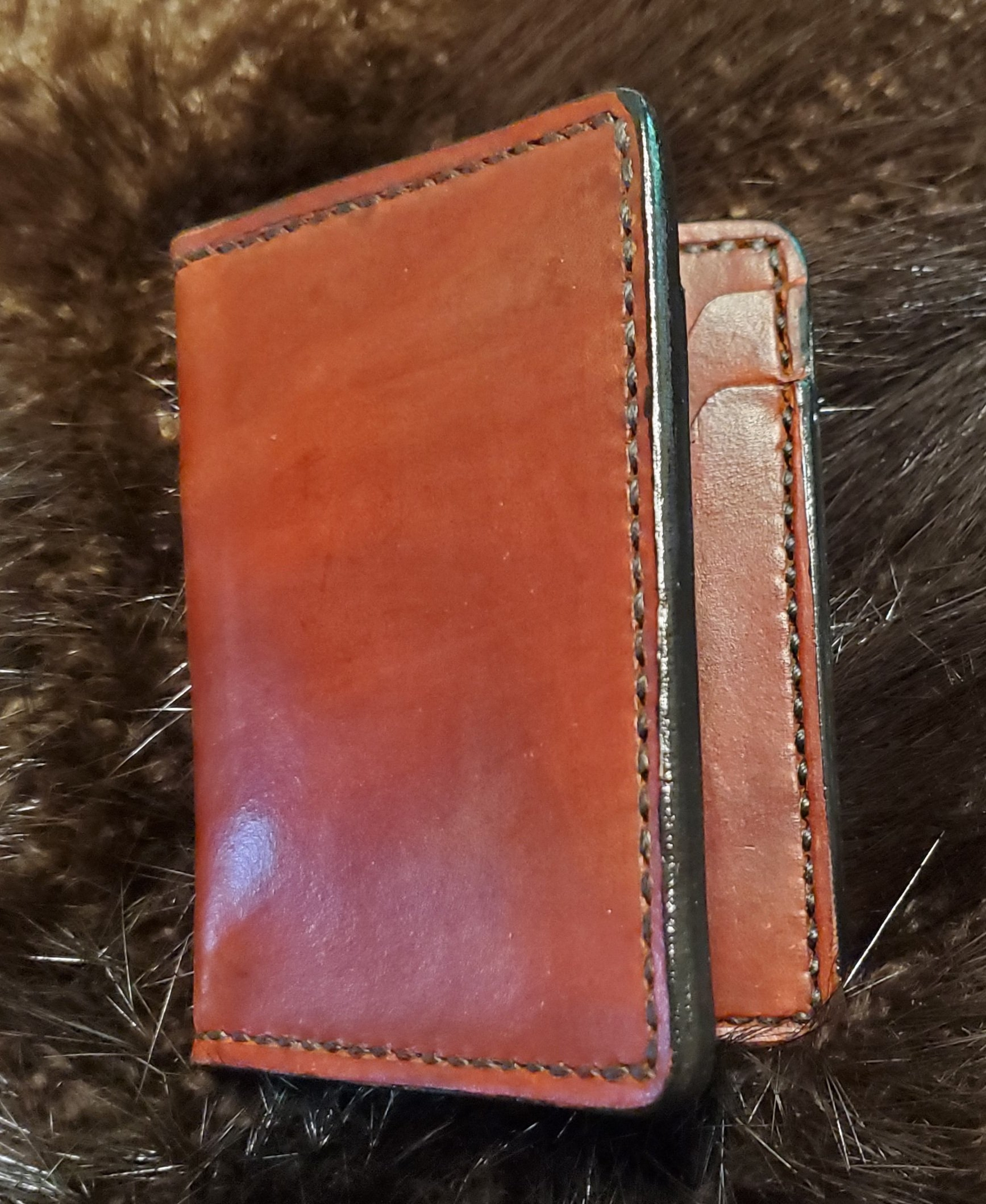 (Outside) 4 pocket Minimalist Wallet,  hand stitched $75.00