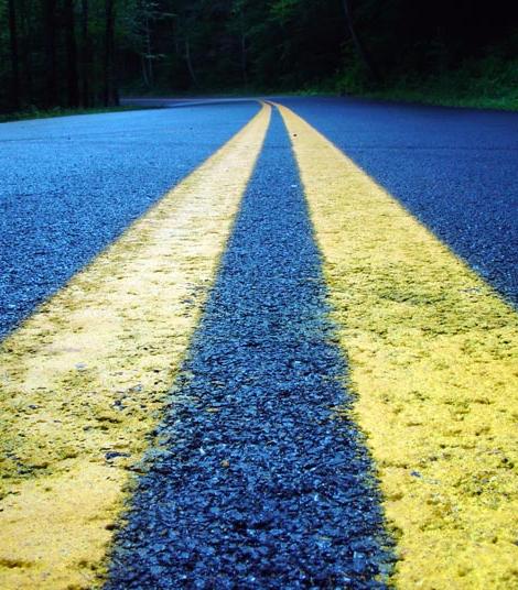 Travelling asphalt highway