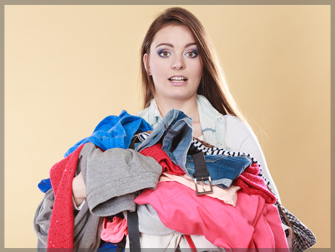 Woman with Dirty Laundry Clothes