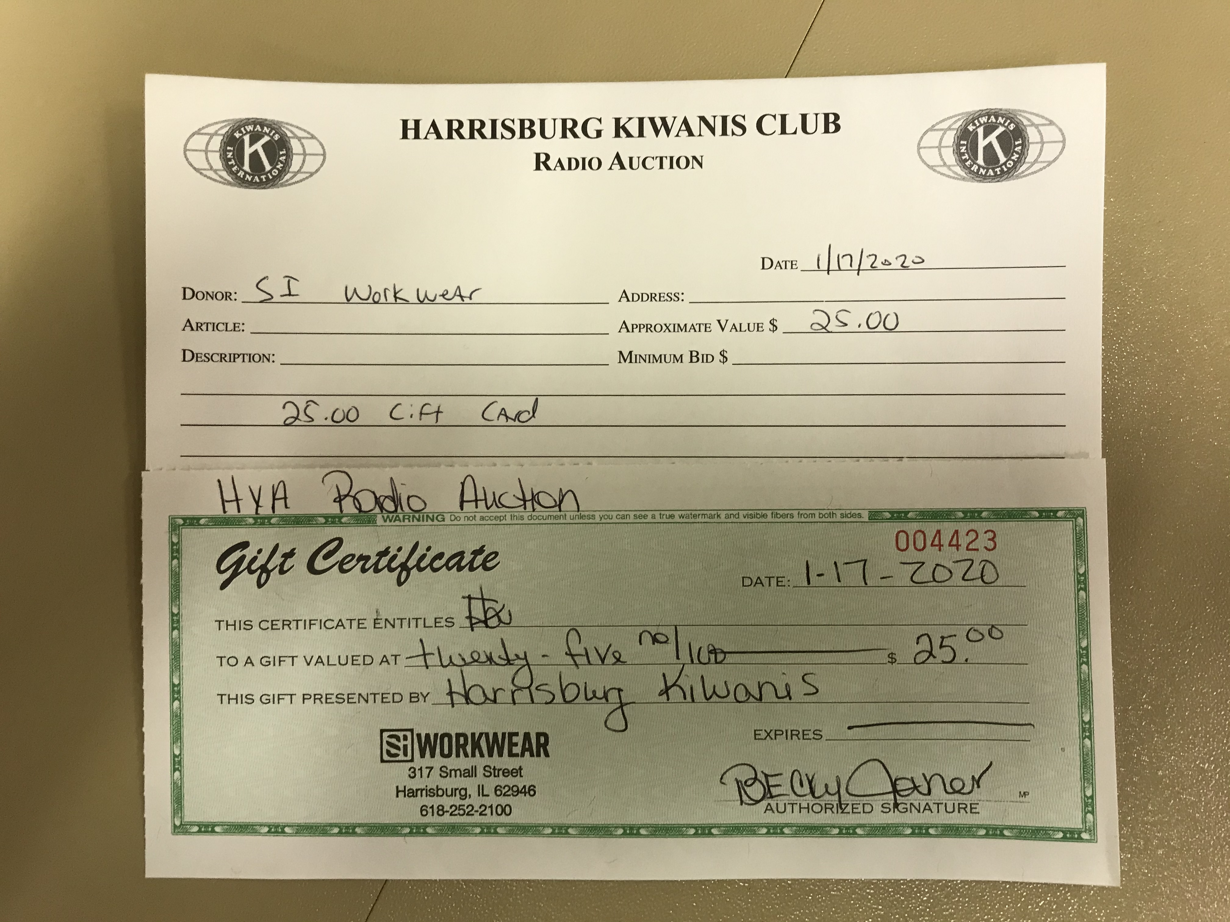 Item 108 - SI Workwear $25 Gift Certificate