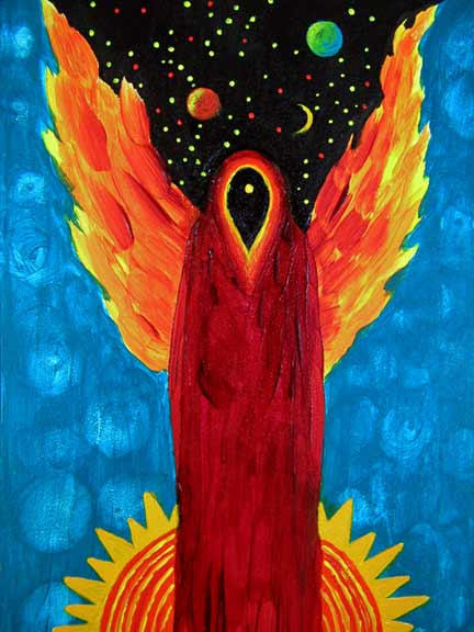 """Solar Angel - 5""""x 7"""" Acrylic on Gessobord  SOLD  Greeting card available"""