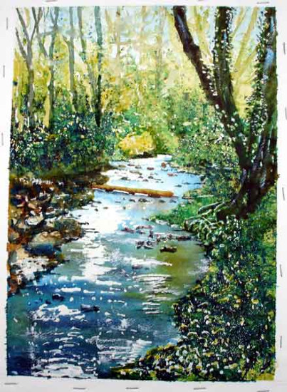 River at Kington .. watercolour