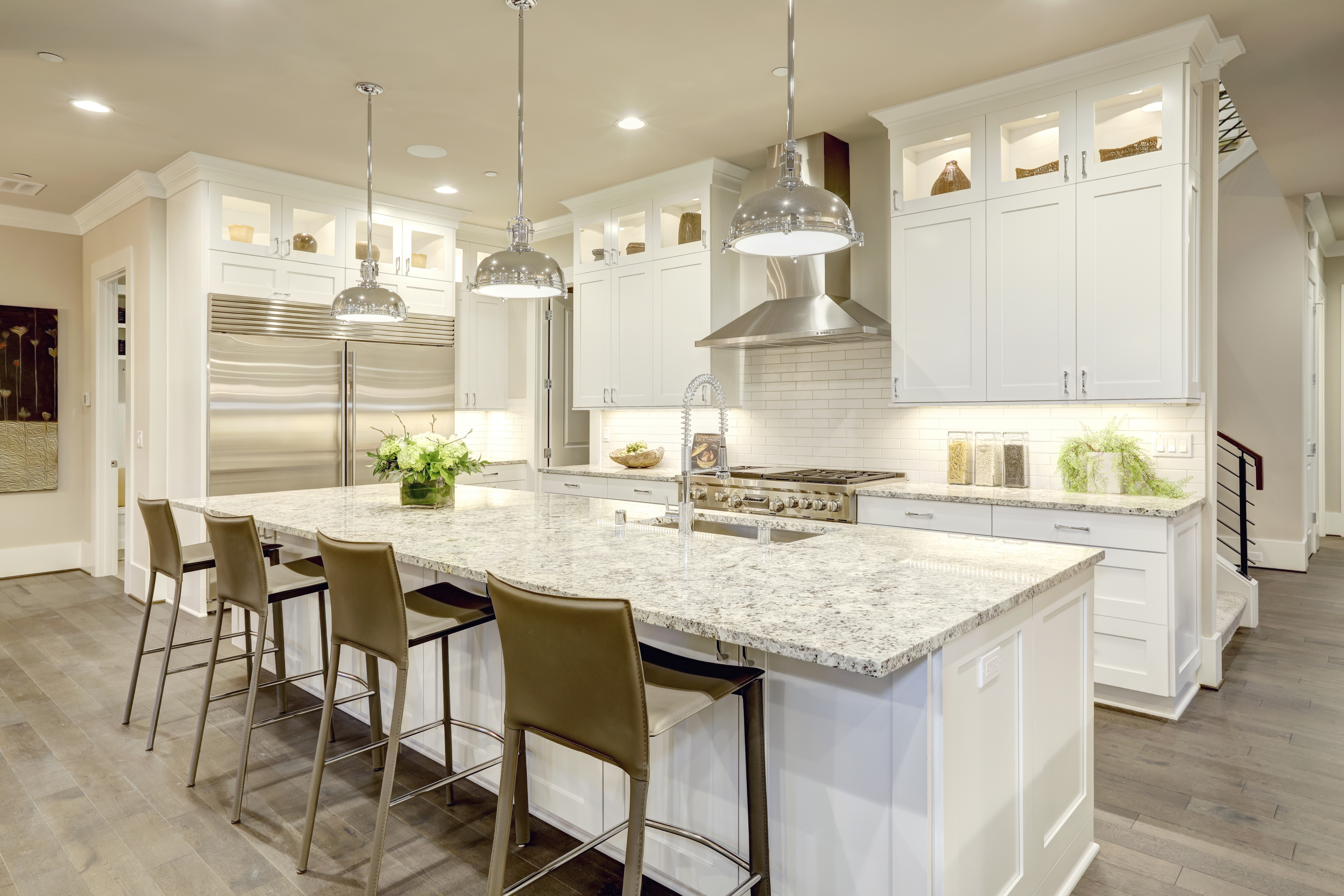 Kitchen Remodel with white cabinets granite countertops