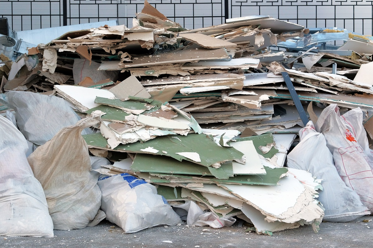 Construction site debris and trash