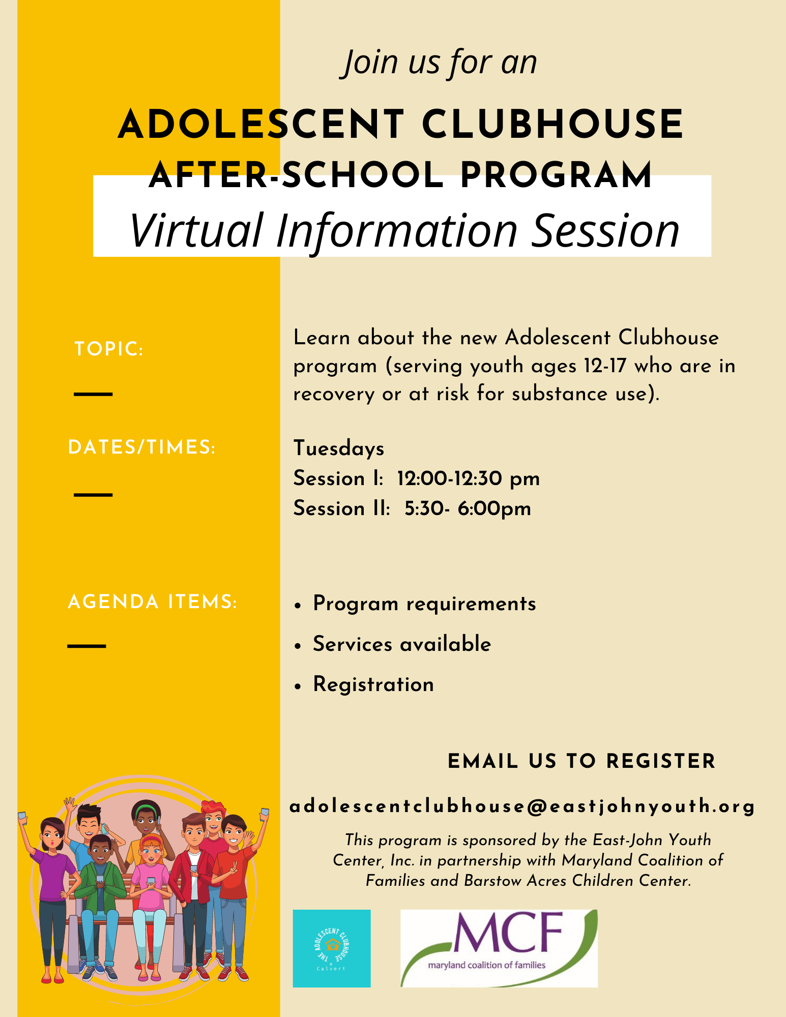 Adolescent Clubhouse Virtual Information Session