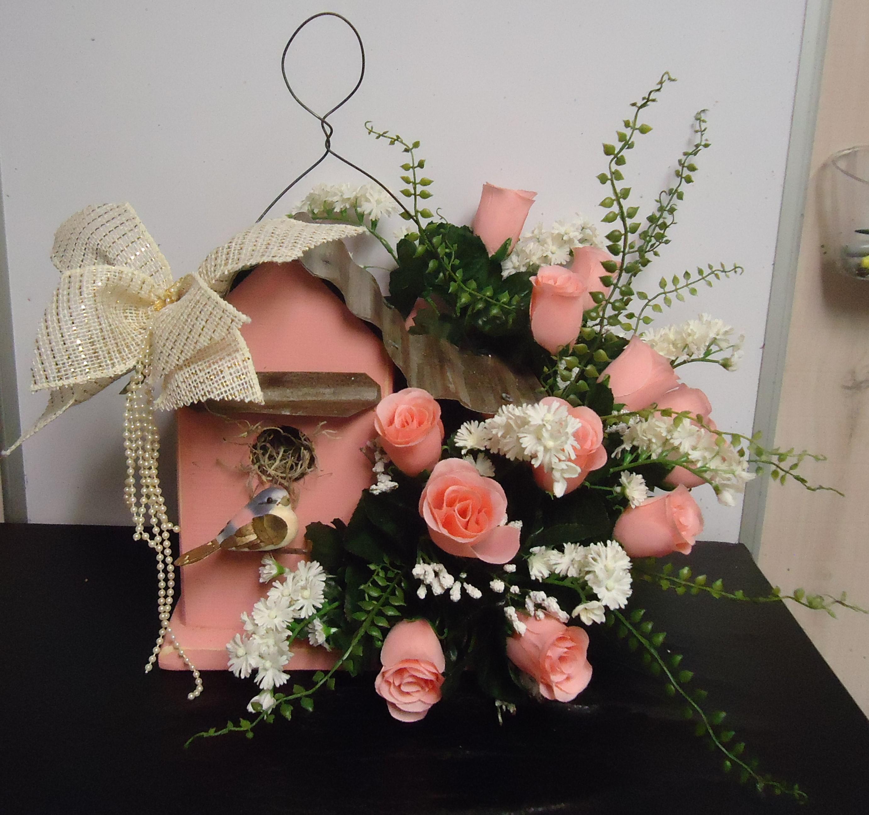 """(31)  """"Birdhouse""""  W/ Silk Roses $35.00"""