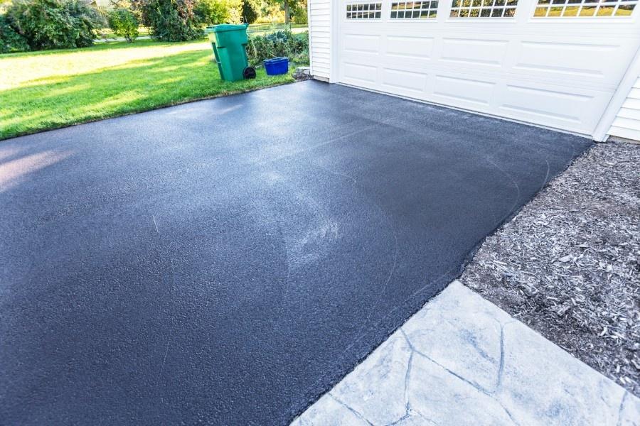 Blacktop sealed asphalt driveway