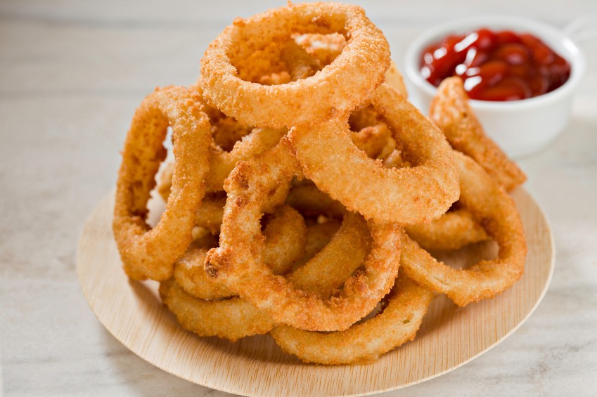 Onion rings and ketchup