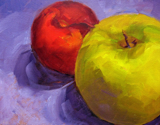"Apple & Plum ~ 6"" x 8""  Oil on Canvas Panel"