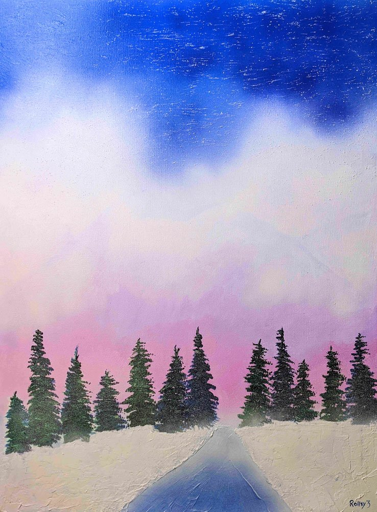 THE MORNING SNOW   $1200  30x40   HIGHLIGHTED WITH GLOW IN DARK LUMINESCENT PAINT