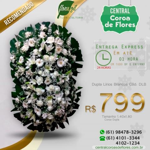 Coroa de Flores Dupla Lírios Brancos
