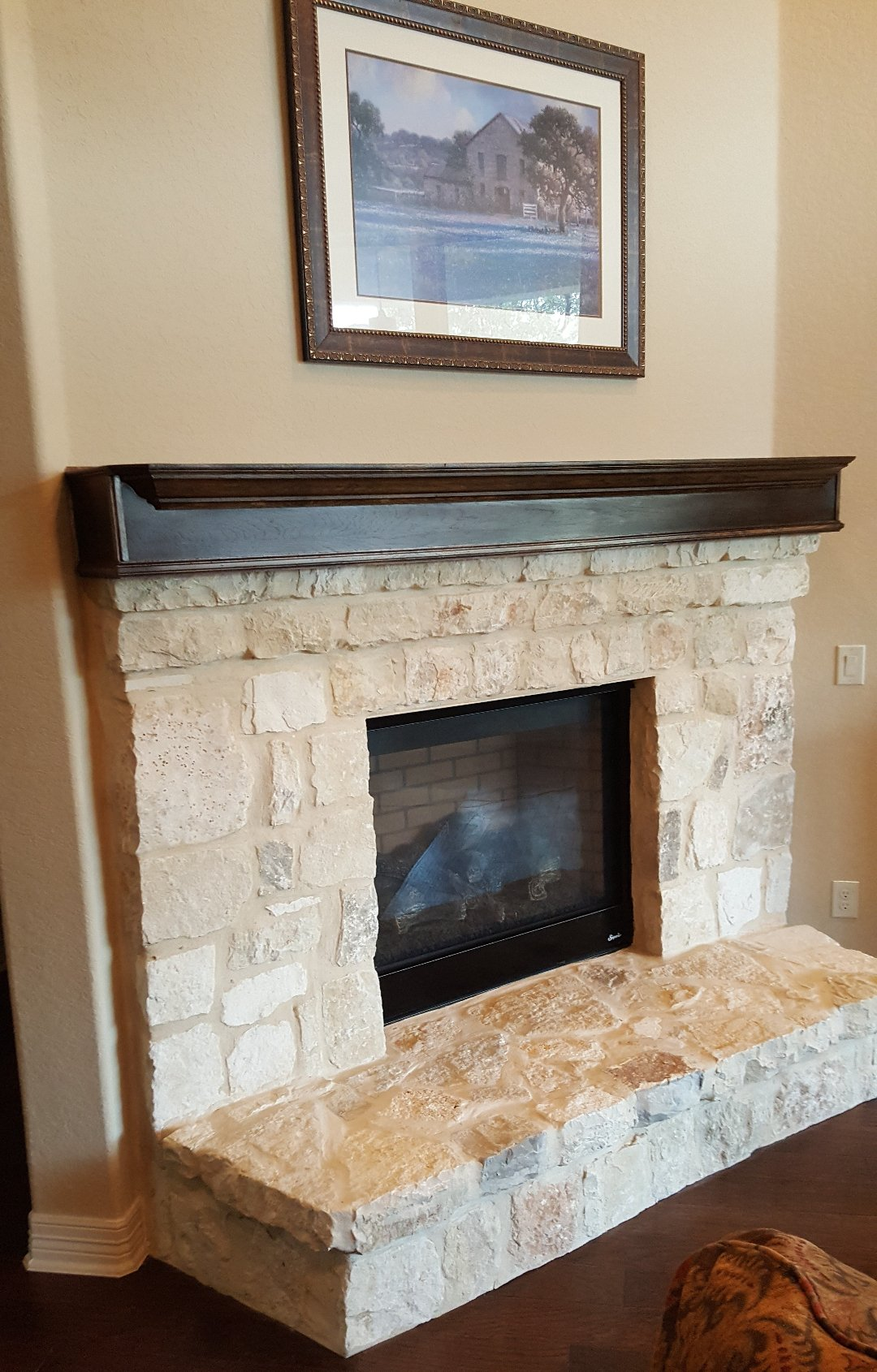 Espresso Stained Hickory Wood Mantel  Completes Beautiful Natural Rock Fireplace