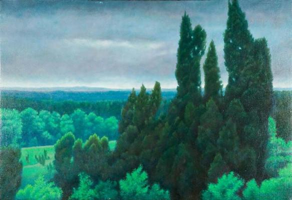 "Landscape in Greens after Higashiyama Kai,  33""X23"" $700 © Diane Crago 2012"