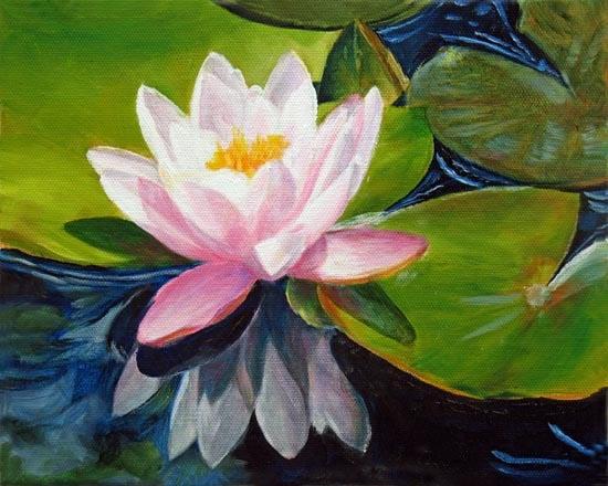 """Lotus~ 8"""" x 10""""   Oil on canvas"""