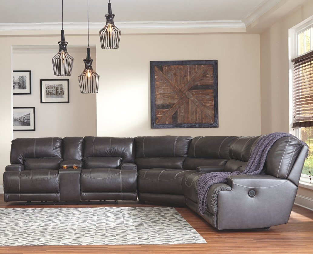 (609) McCaskill Reclining Power Sectional Leather Match