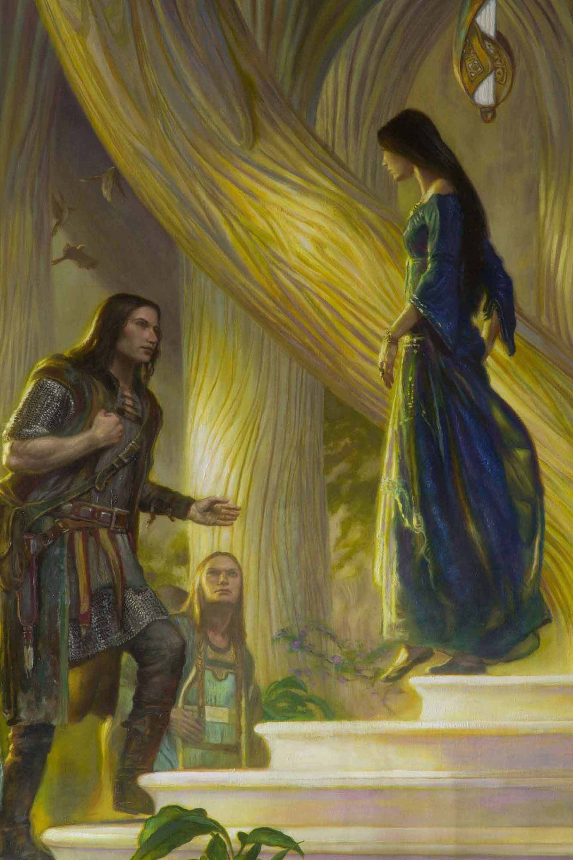 "Beren and Luthien in the Court of Thingol and Melian 60"" x 110""  Oil on Linen  2015 detail,  from J.R.R. Tolkien's The Silmarillion"