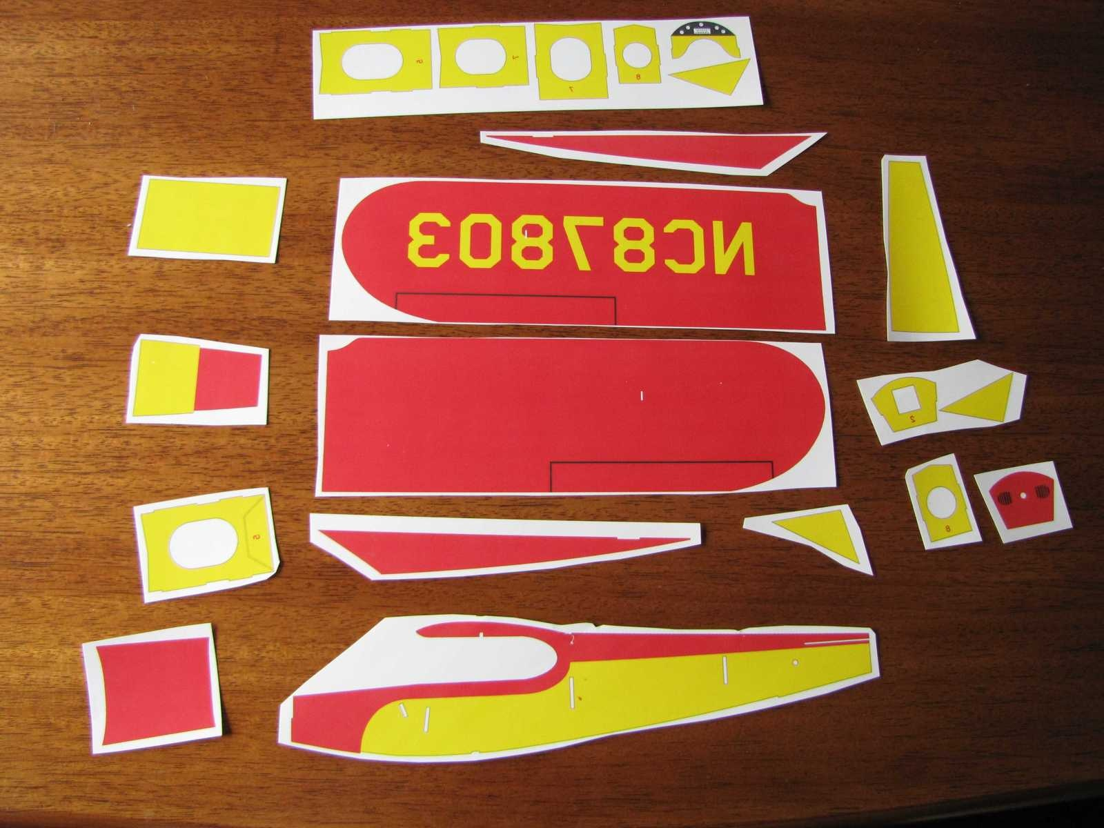 Depending on how you laid out your artwork to fit a letter size sheet, it may be necessary to cut the individual parts from the printed transfer paper. The parts do not need to be cut on the lines, just separated from the sheet of paper. If you had to break a part into sections, the sections can now be tapped together in preparation for transfer to the balsa sheet.