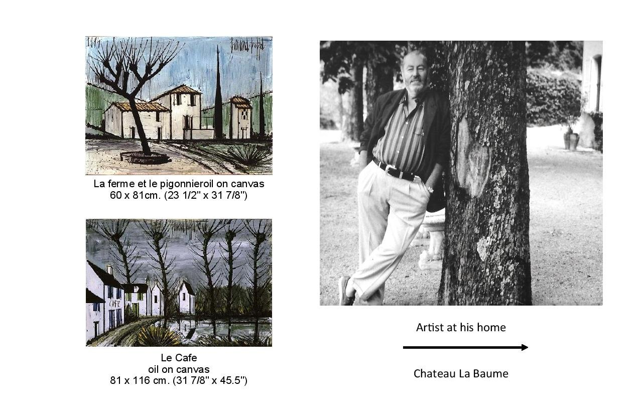 2 paintings of houses, La ferme et le pigonnieroil on  canvas and Le cafe oil on canvas. An photo of the artist
