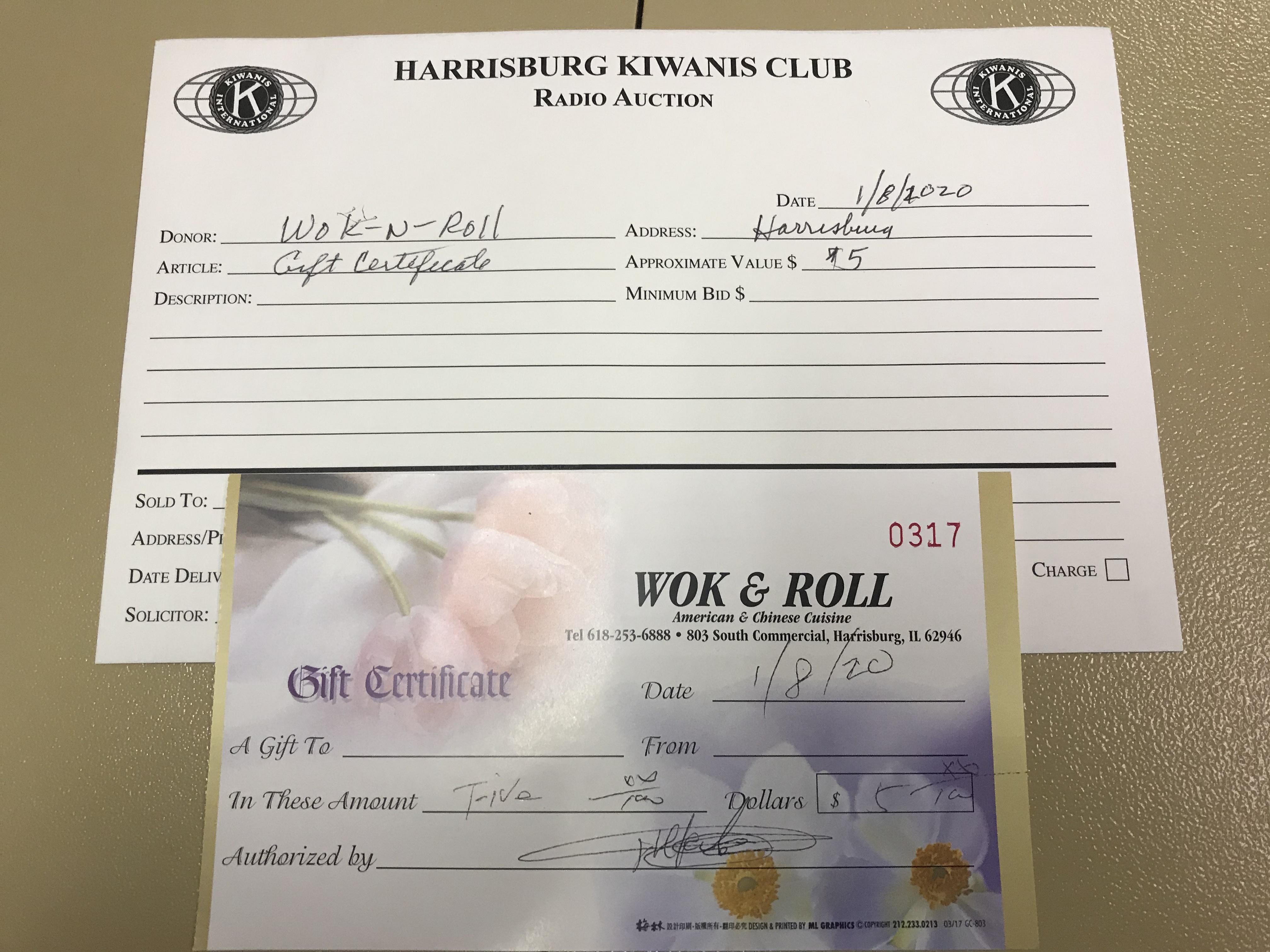 Item 210 - WOK-N-ROLL $5 Gift Certificate