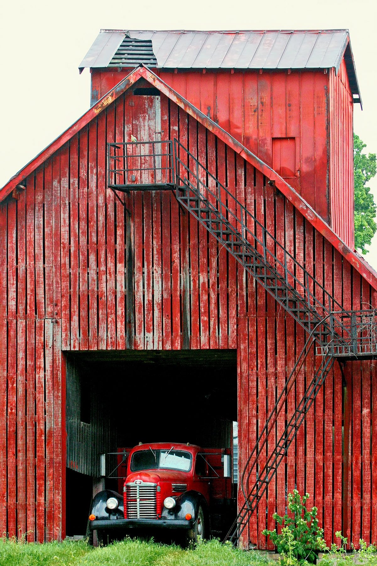 RED TRUCK - I use to pass this barn every day on the way to and from work, but it was always so cluttered around it you just couldn't get a good photo. Then one day this old red truck was there, and that  made  the  shot. I haven't seen the truck since!
