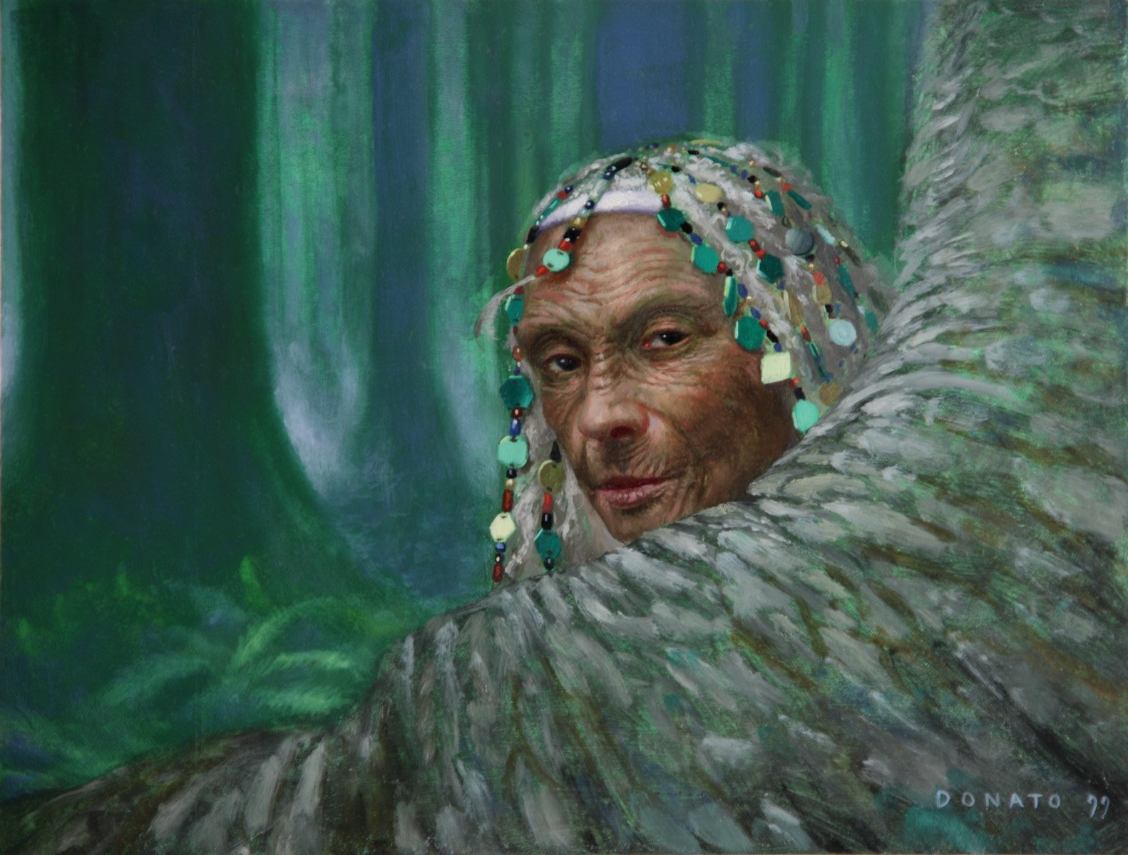 "Revered Elder Mercadian Masques 7"" x 9""  Oil on Panel private collection"