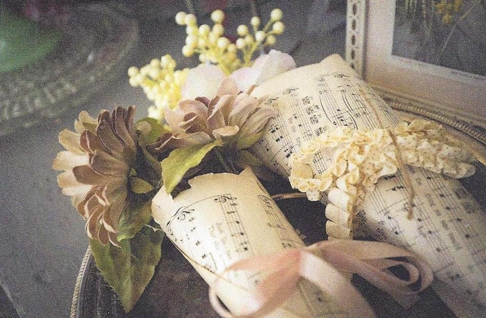 Flowers Wrapped in Music Sheet