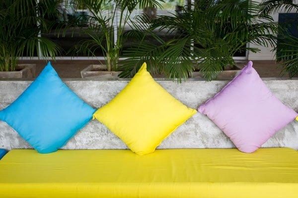 Colourful Outdoor Sofa Close Up