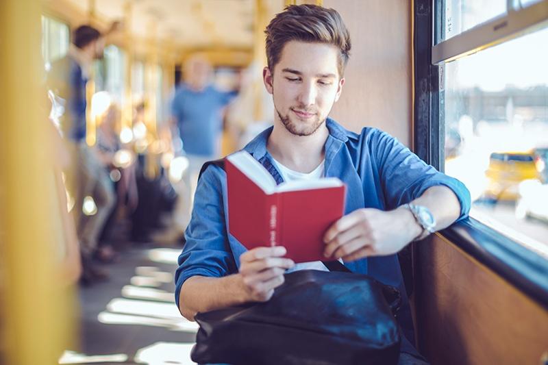 Man in public transportation