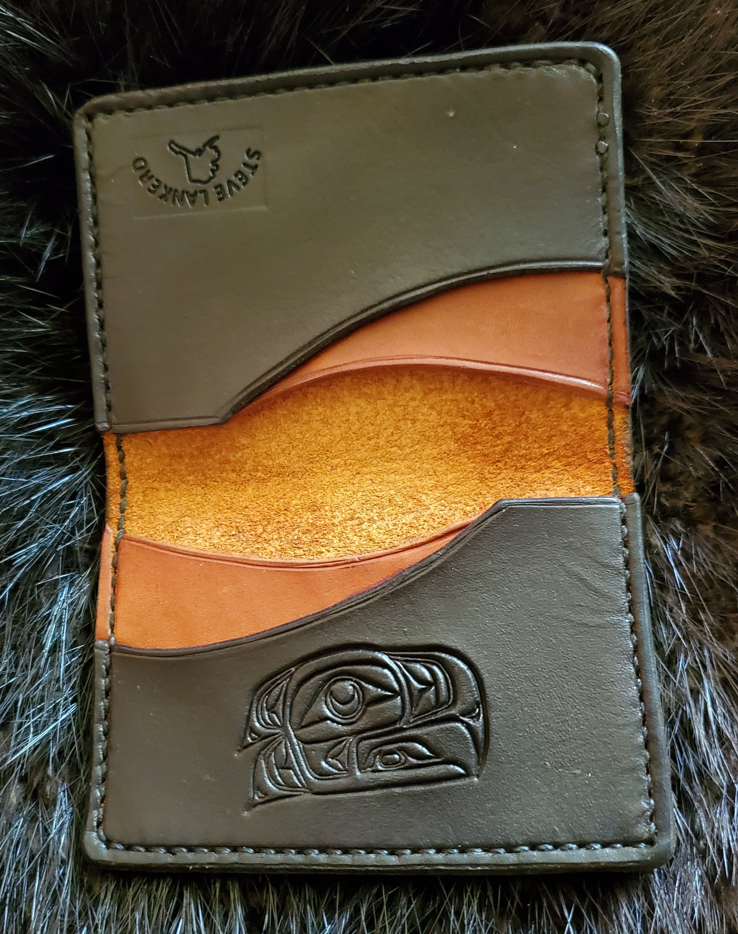 (Inside)  Minimalist 4 pocket Wallet hand tooled and stitched, $75.00