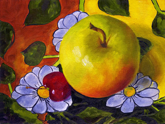 "Apple & Cherry ~ 6"" x 8"" Oil on Canvas Panel  SOLD"