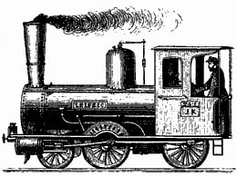 Old steam train engine drawing
