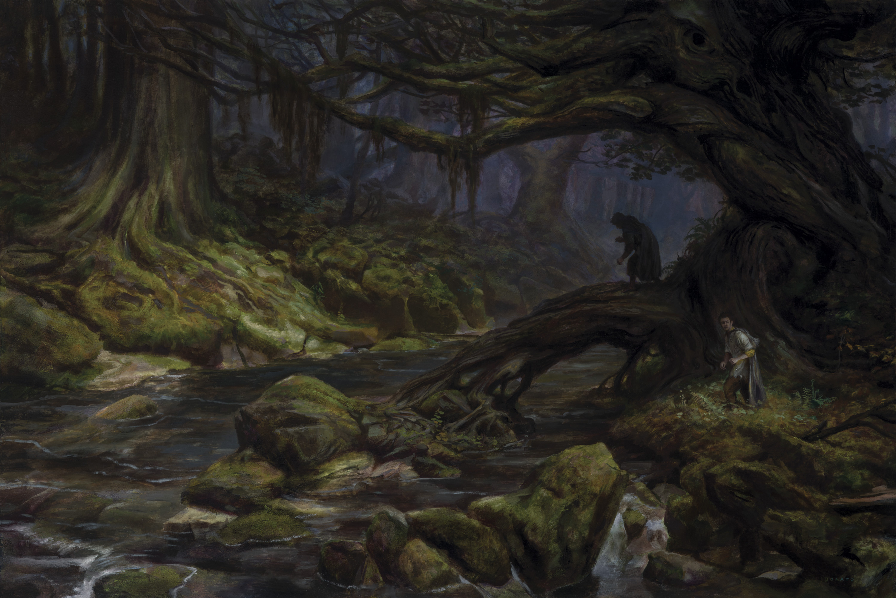 "Fangorn Forest - Merry and Pippin 24"" x 36"" Oil on Panel  2018 original art available for purchase"