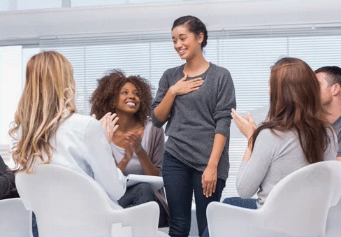 Happy Patient Has A Breakthrough In Group Therapy