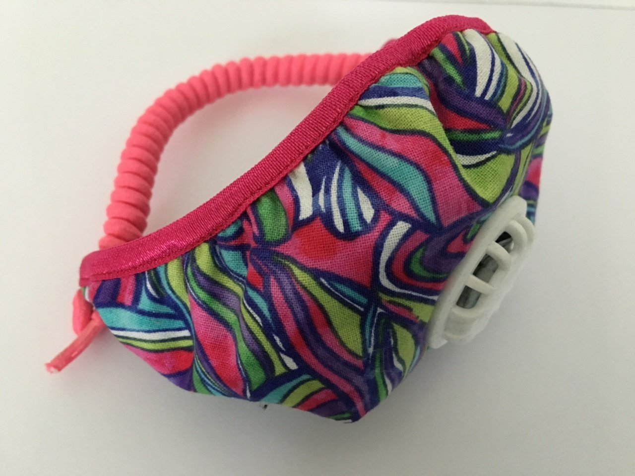 Curly coil back. Adjustable. Comfy. No ear loops on any Posh Pollution Mask.