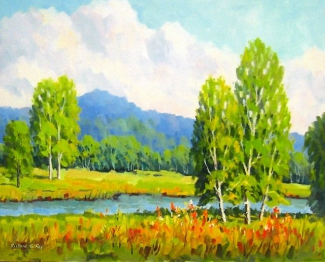 Birches by the Water, 16 x 20