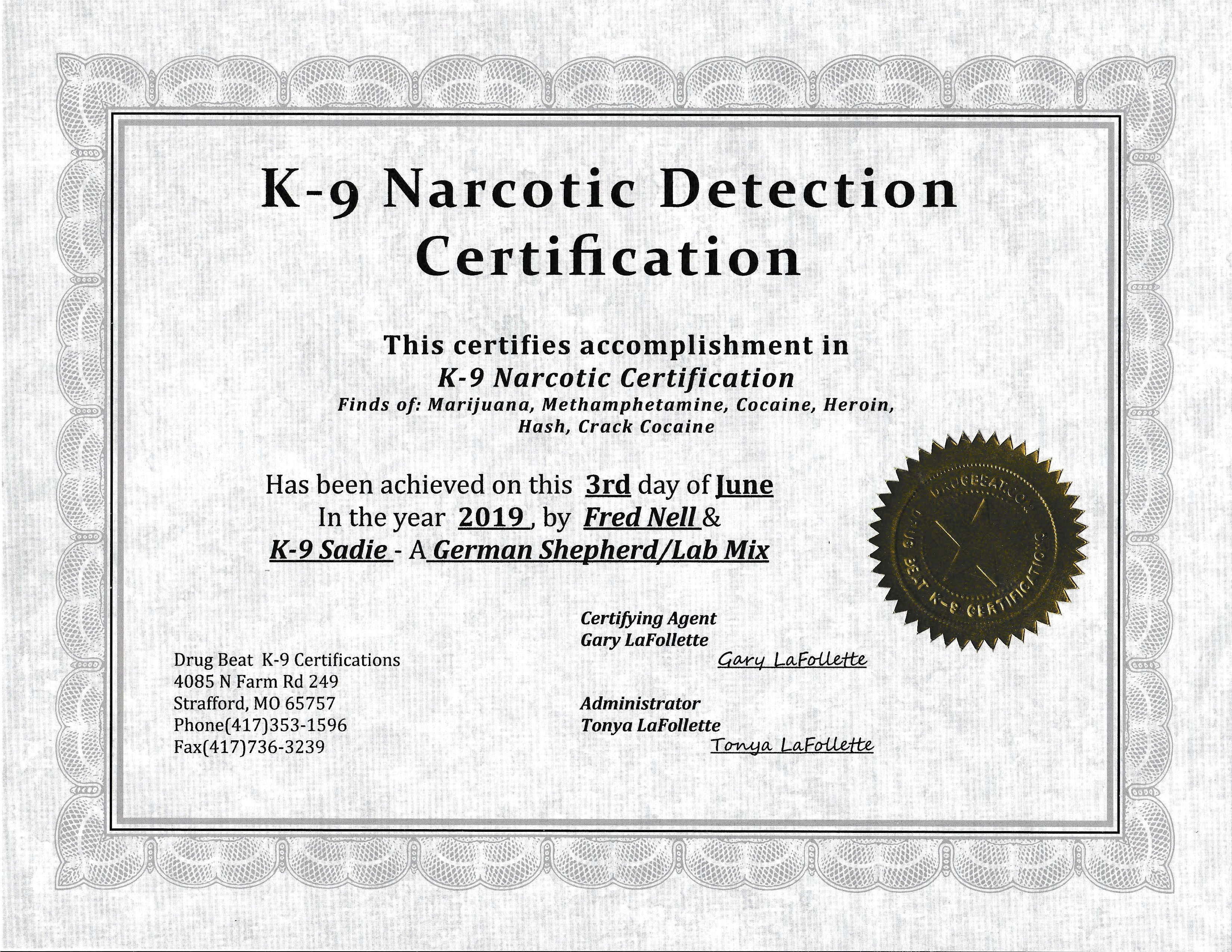 Sadie's Certificate