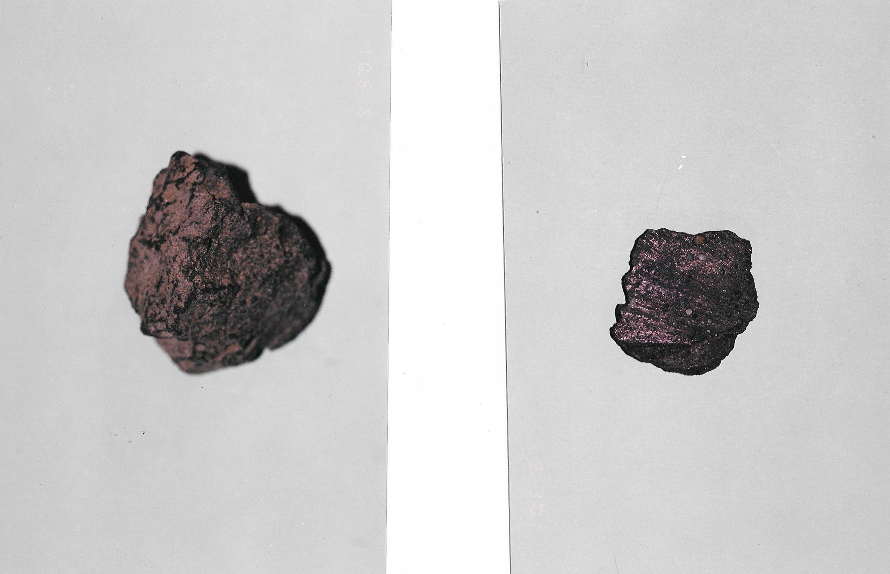 The image on the right is the inside surface of the smaller core sample.  The image on the left is the outer surface of the larger core sample.  There is a faint reddish glow.