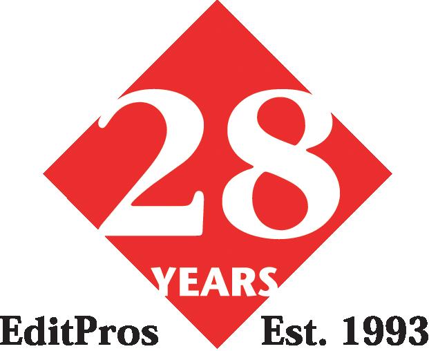EditPros 28-year diamond-shaped emblem